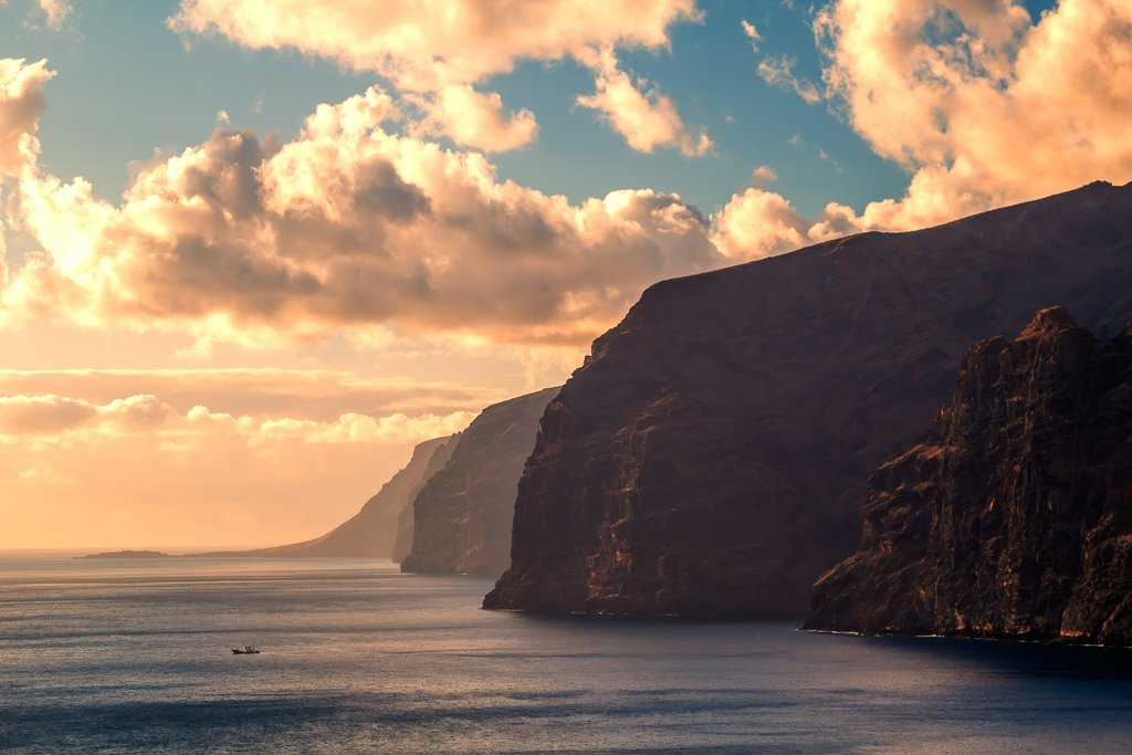 Sunset over the Los Gigantes cliffs in Tenerife.