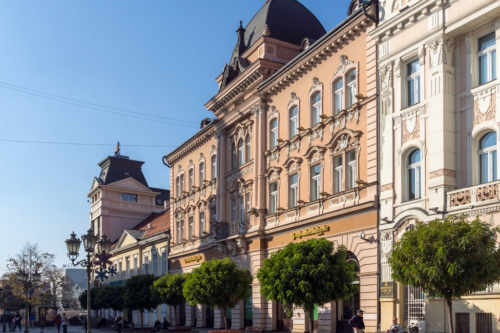 Pretty pastel-colored building of Zmaj Jovina
