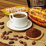 Hot brewed cacao drink, raw cocoa fruit, cacao beans, and caco nibs