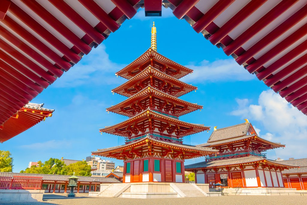 View of Shitenno-ji Temple in Osaka, Japan