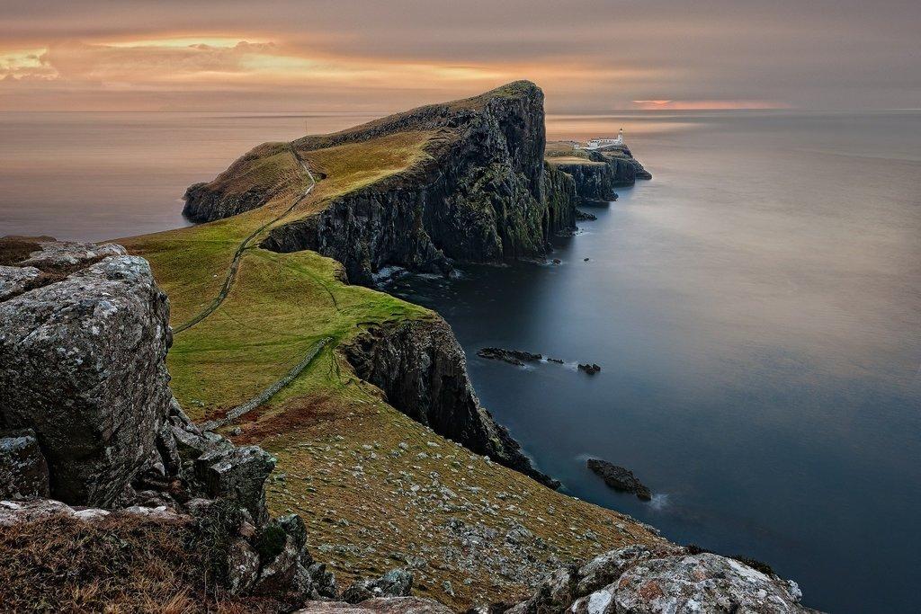 Sunset over the Isle of Skye's coast.