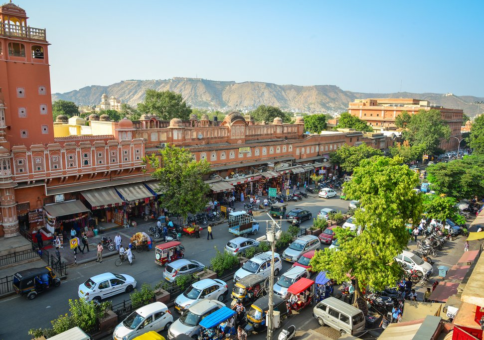 Head downtown at sunset to explore the chowks and street markets in Jaipur