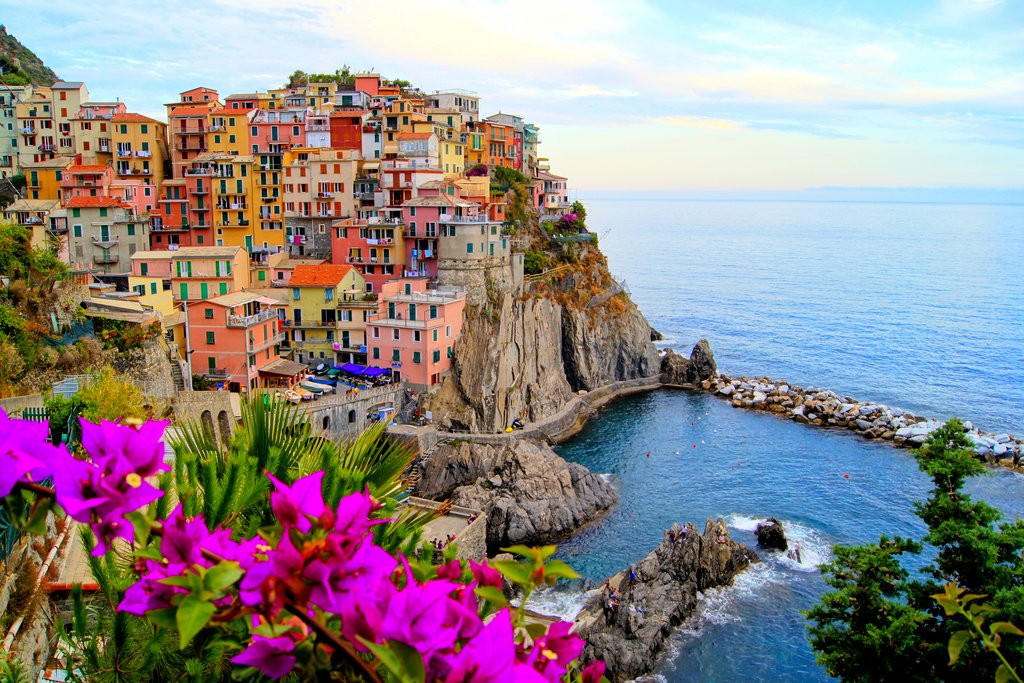 A view of the village of Manarola from the Cinque Terre hiking trail