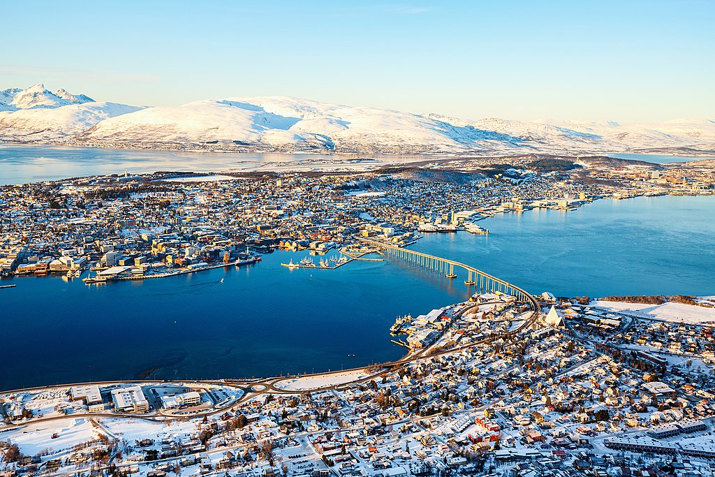 An aerial view of Tromsø