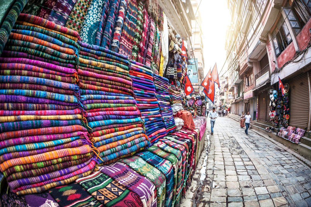 Wool blankets for sale along the streets of Thamel