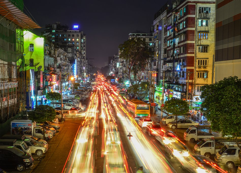 A nighttime scene in Yangon