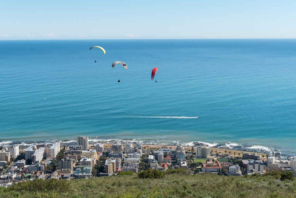 Paragliders over Sea Point