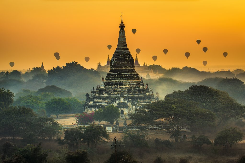 Hot air balloons above Bagan