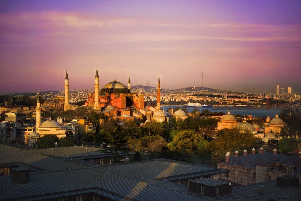 Hagia Sophia in the multi-colored light of Istanbul