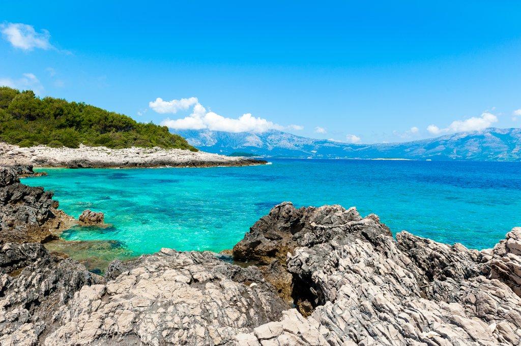Croatia - Korčula - A rocky shore on Korčula