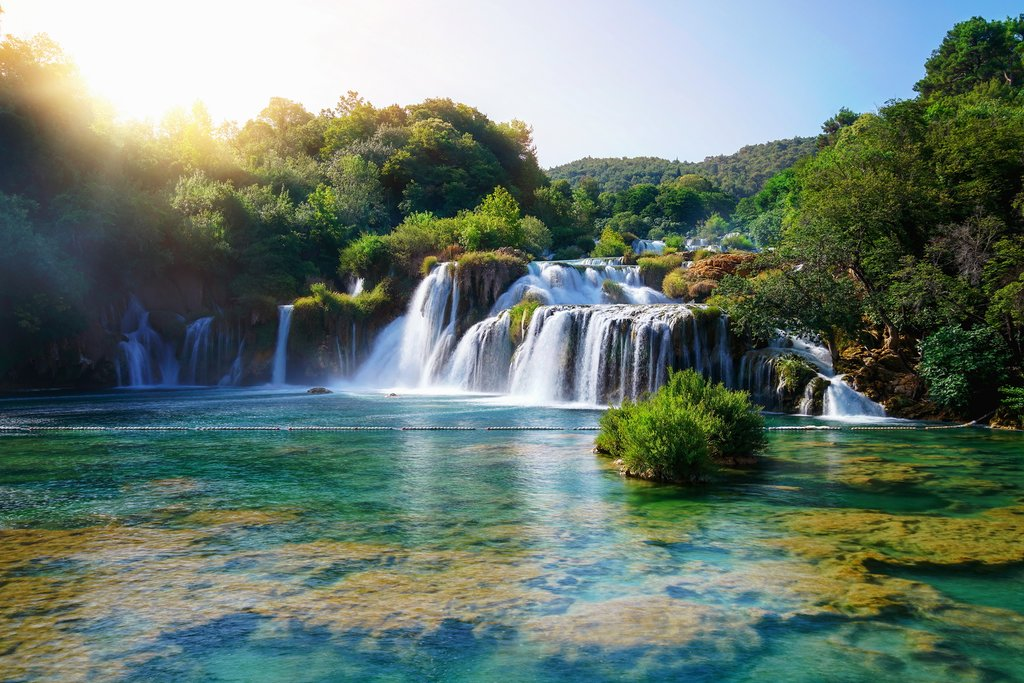 Panoramic landscape of Krka Waterfalls in Krka National Park