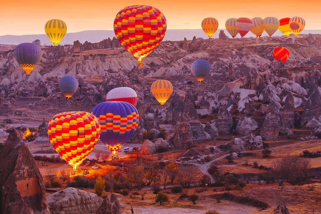A hot air balloon will take you above the majestic landscape of Cappadocia