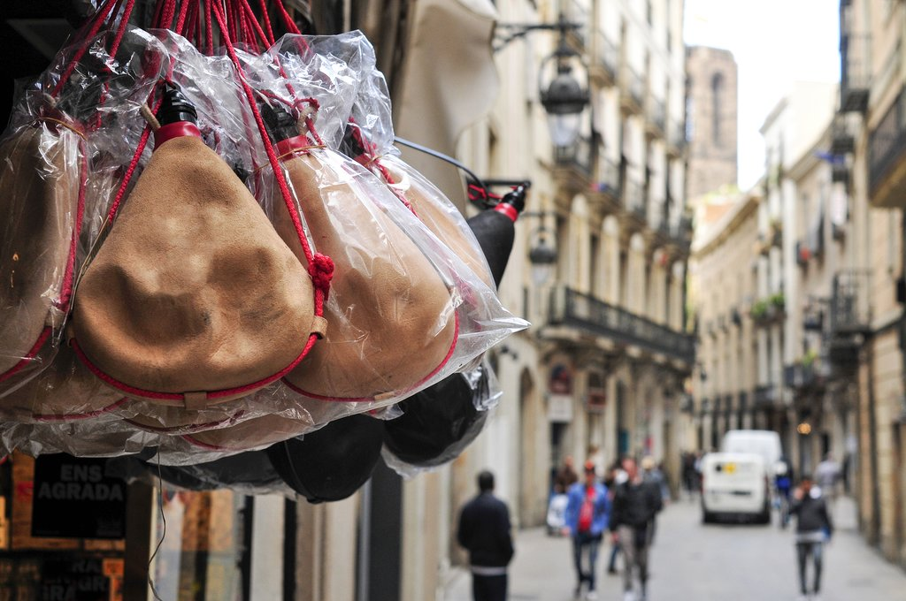 Typical Spanish bota bags on sale in Spain