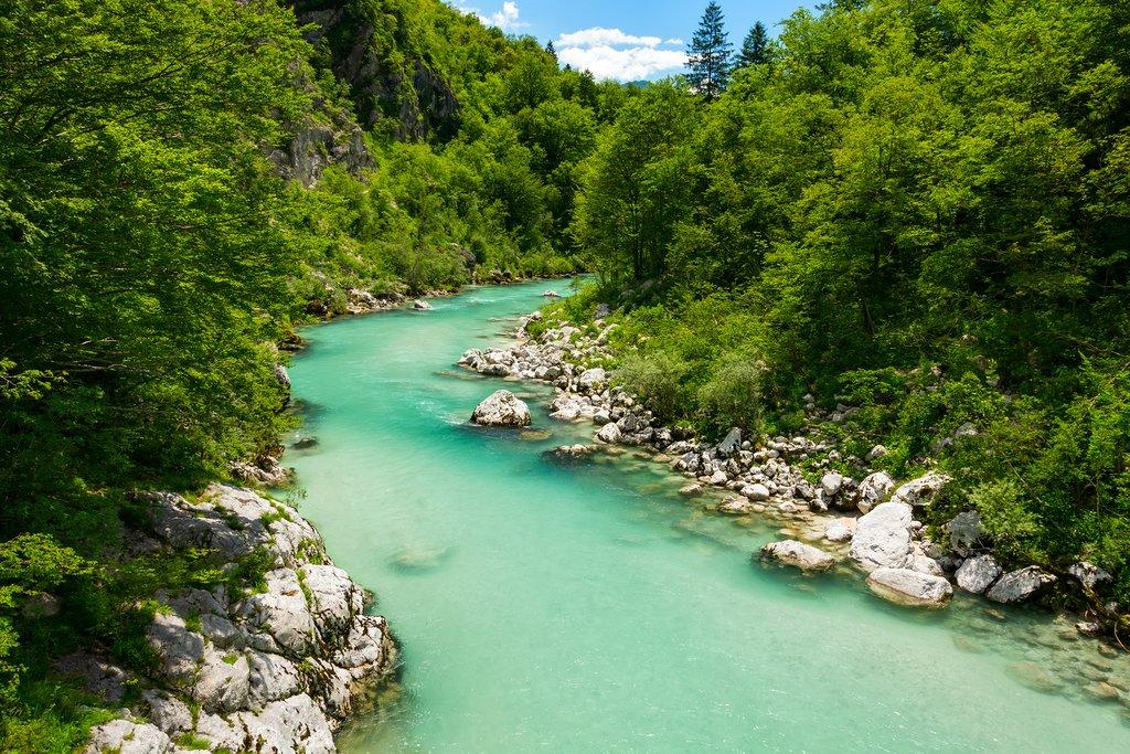 River Soca in Kobarid, Slovenia