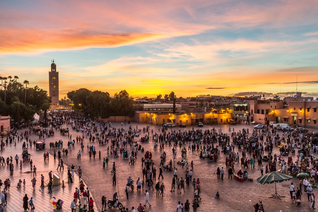 Sunset over Jemaa el-Fna Square, Marrakesh, Morocco