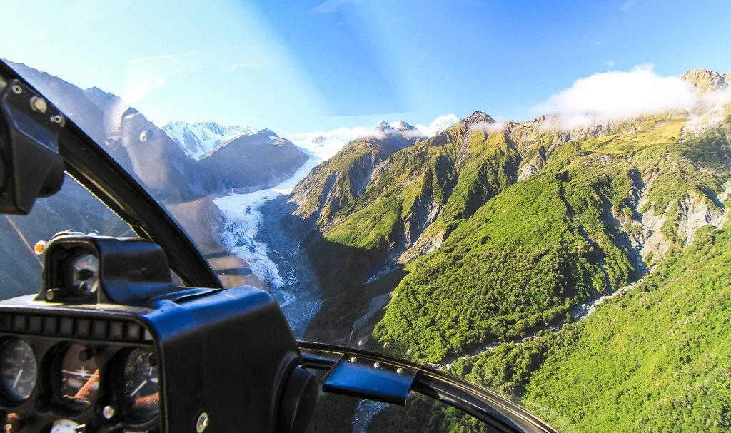 View of the glacier from a helicopter