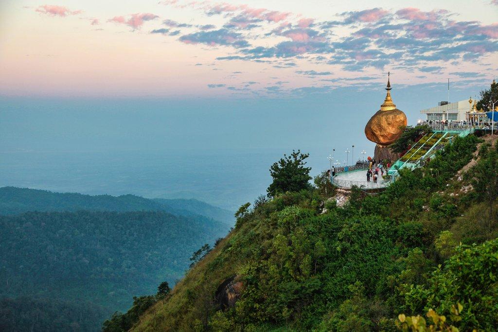 Kyaiktiyo Pagoda also known as Golden Rock is a well-known Buddhist pilgrimage site in Myanmar, Night view of Burmese pagoda, Golden rock, Balancing rock, Mon State, Burma, Myanmar.