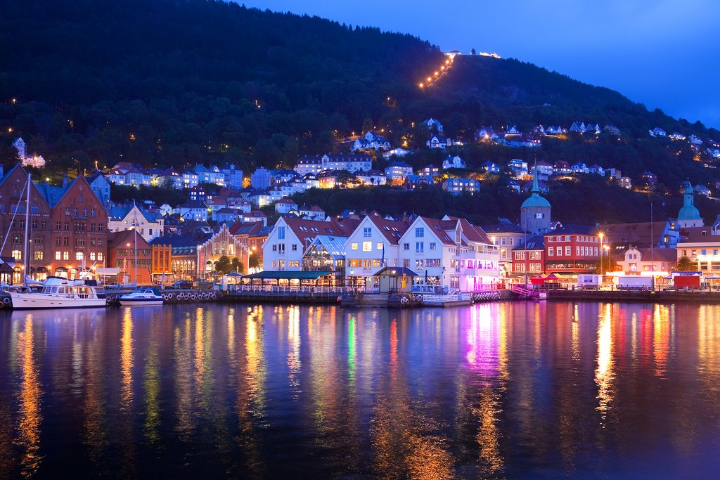 Evening panorama of Bergen from the water
