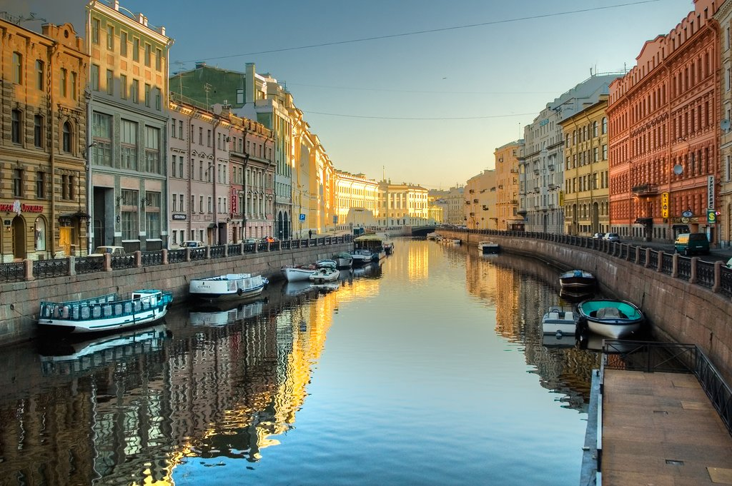 Take a ferry tour through the golden light of St. Petersburg