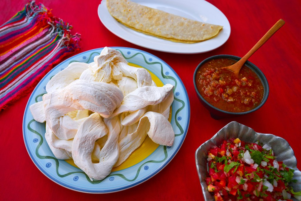 Oaxaca cheese with tortillas and salsa