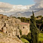 Ruins of Pompeii and the surrounding hillsides