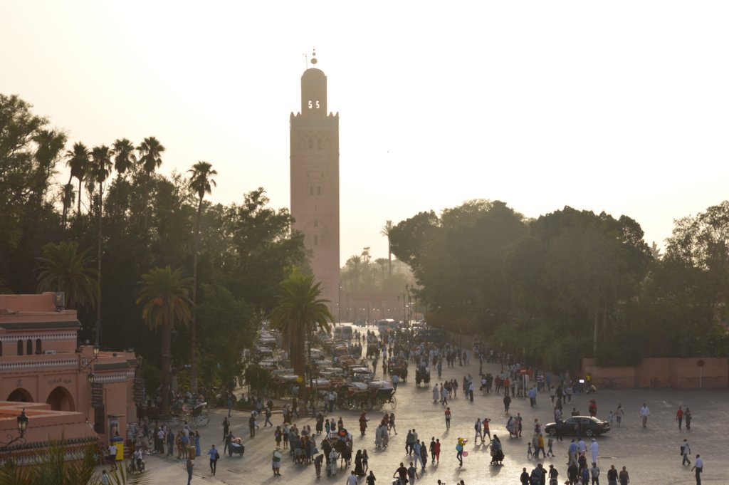 The towering minaret of Koutoubia Mosque