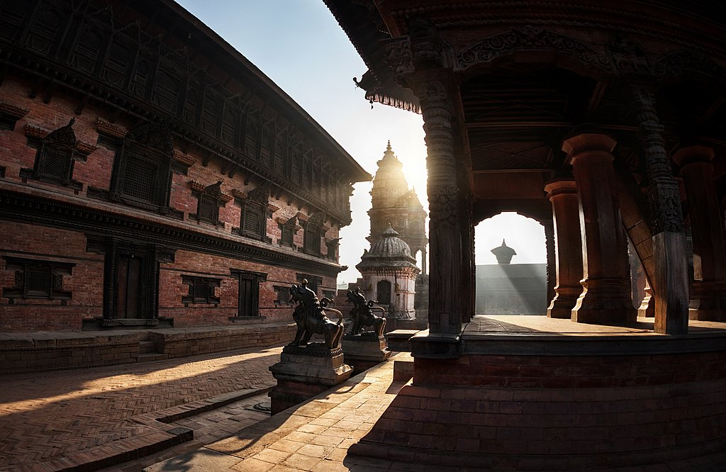 Morning dawns on the temples of Bhaktapur's Durbar Square