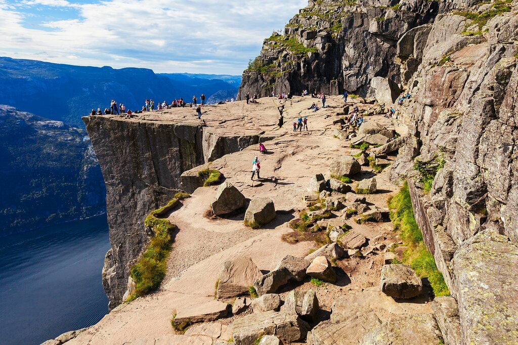 Climb to Preikestolen, or 'Pulpit Rock'—a steep cliff above the Lysefjorden