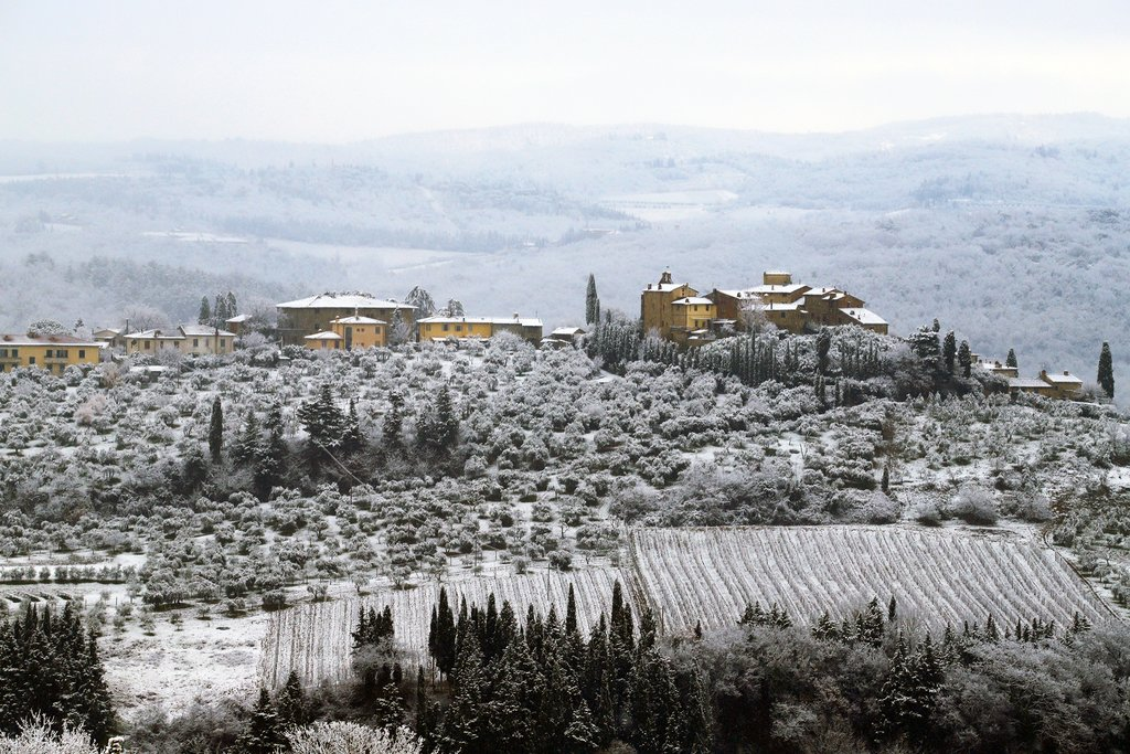 Snow in the vineyards of Chianti, Tuscany
