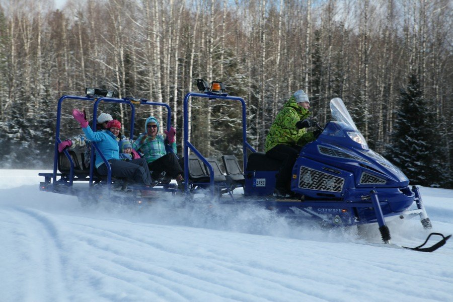 Snowmobile ride through the nature reserve