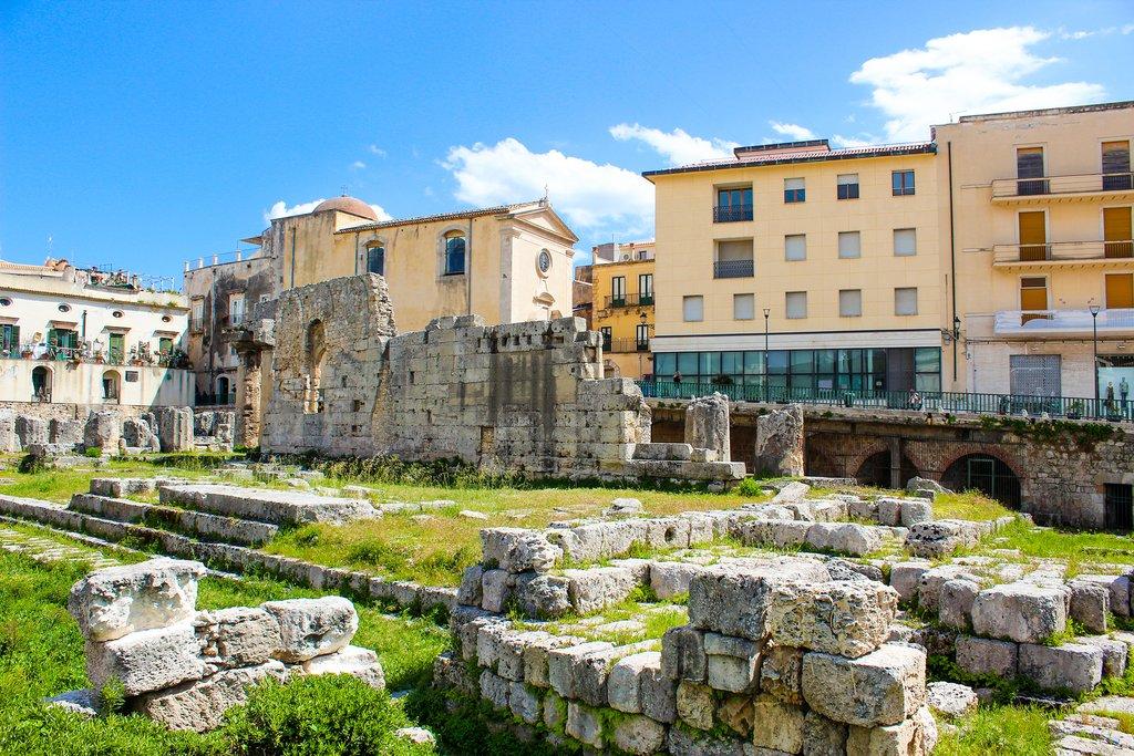 Temple of Apollo ruins, Pancali Square, Syracuse, Sicily, Italy