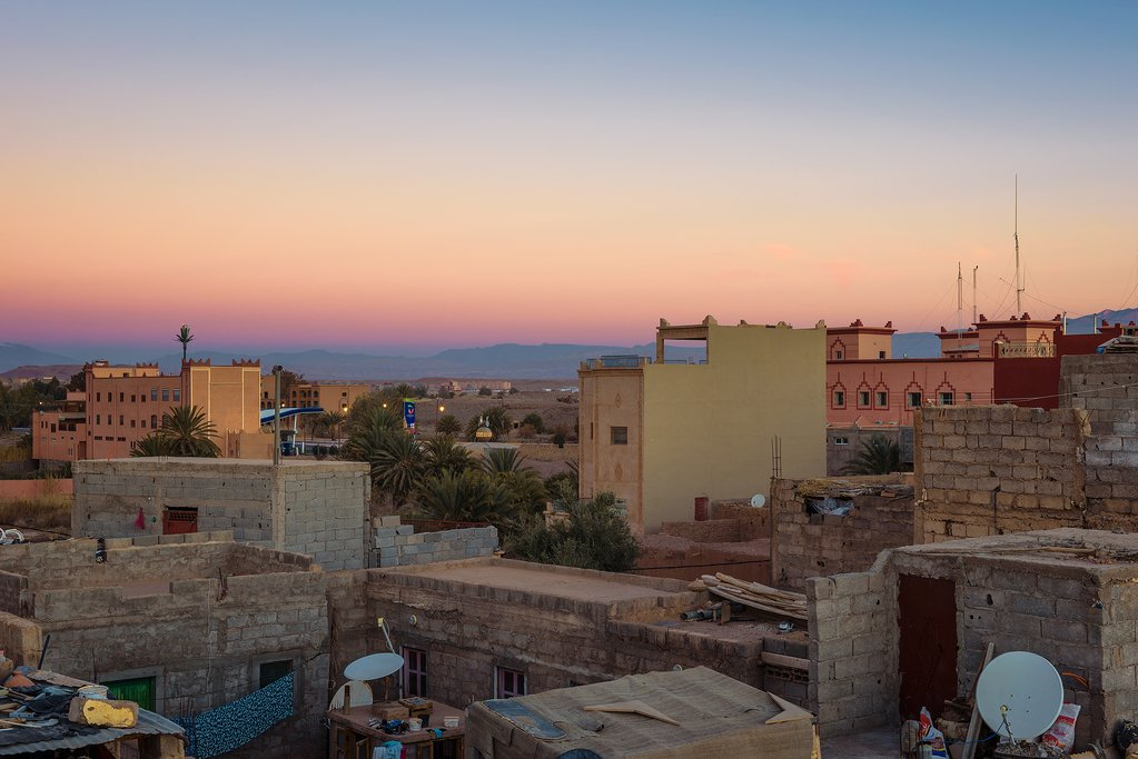 Sunrise over the roofs of Ouarzazate