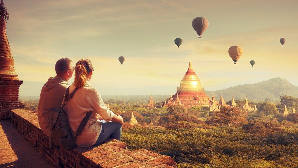Watching hot air balloons at dawn in Yangon