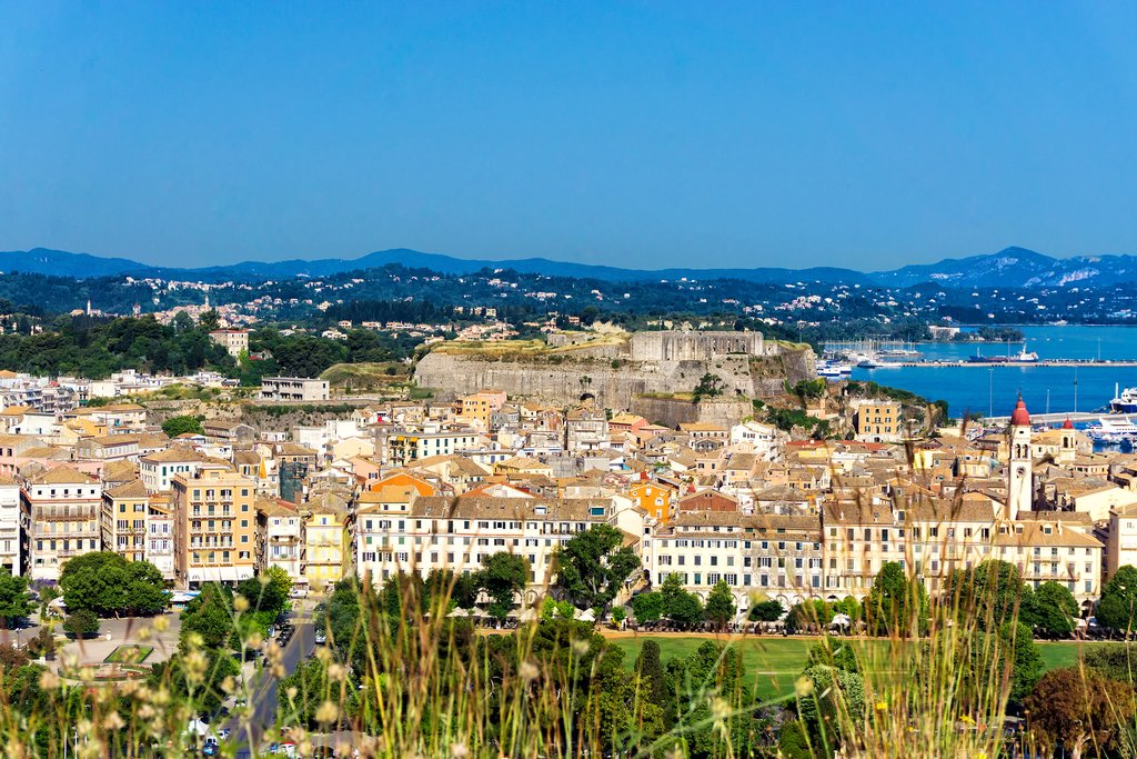 A scenic shot of the city of Corfu.