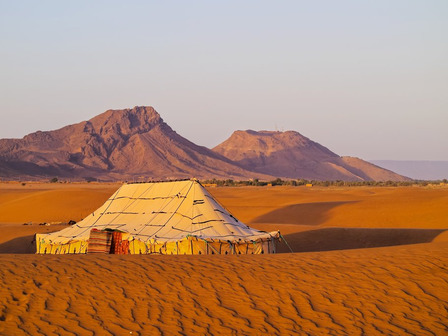 A desert camp in the Sahara near Zagora