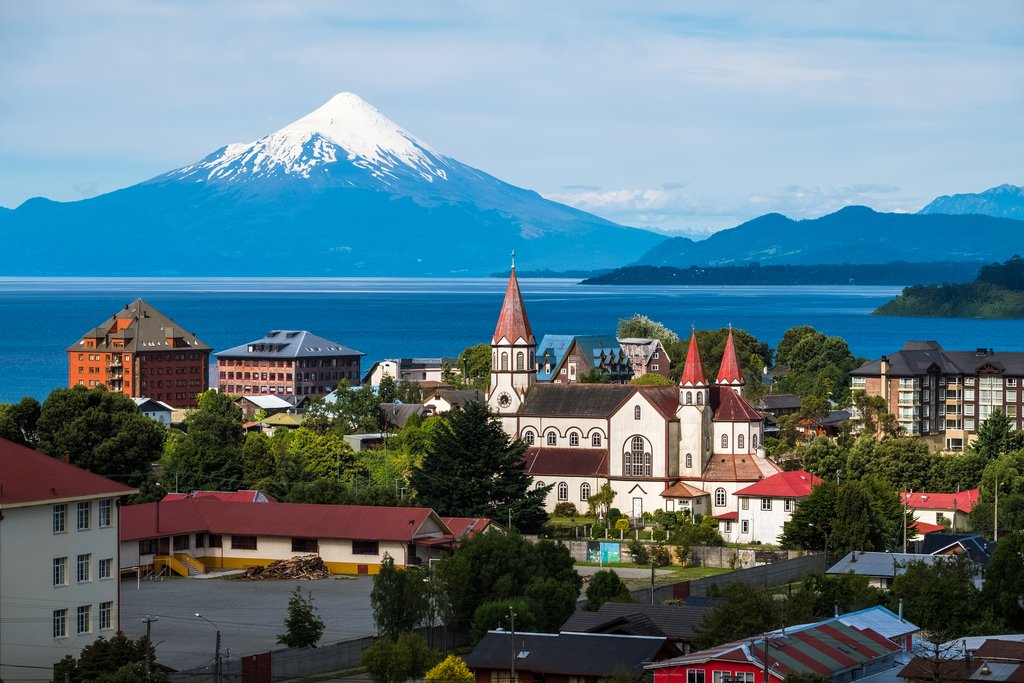 Puerto Varas and the Orsono volcano in the distance