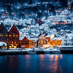 Bergen's beautiful waterfront after a snowfall.