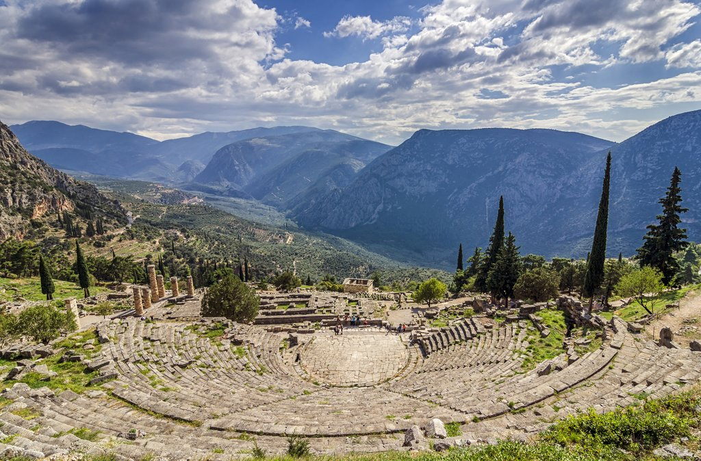 The ancient theater in Delphi, Greece