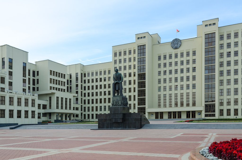Monument to Lenin and Government House on Independence Square Minsk Belarus