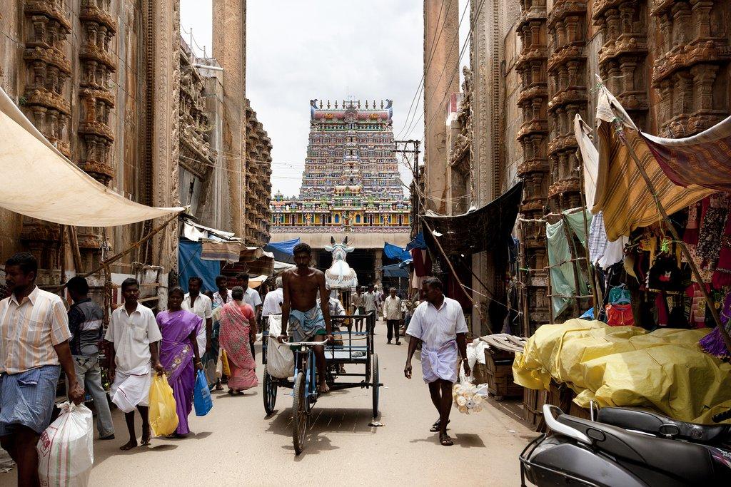 A busy street in Madurai