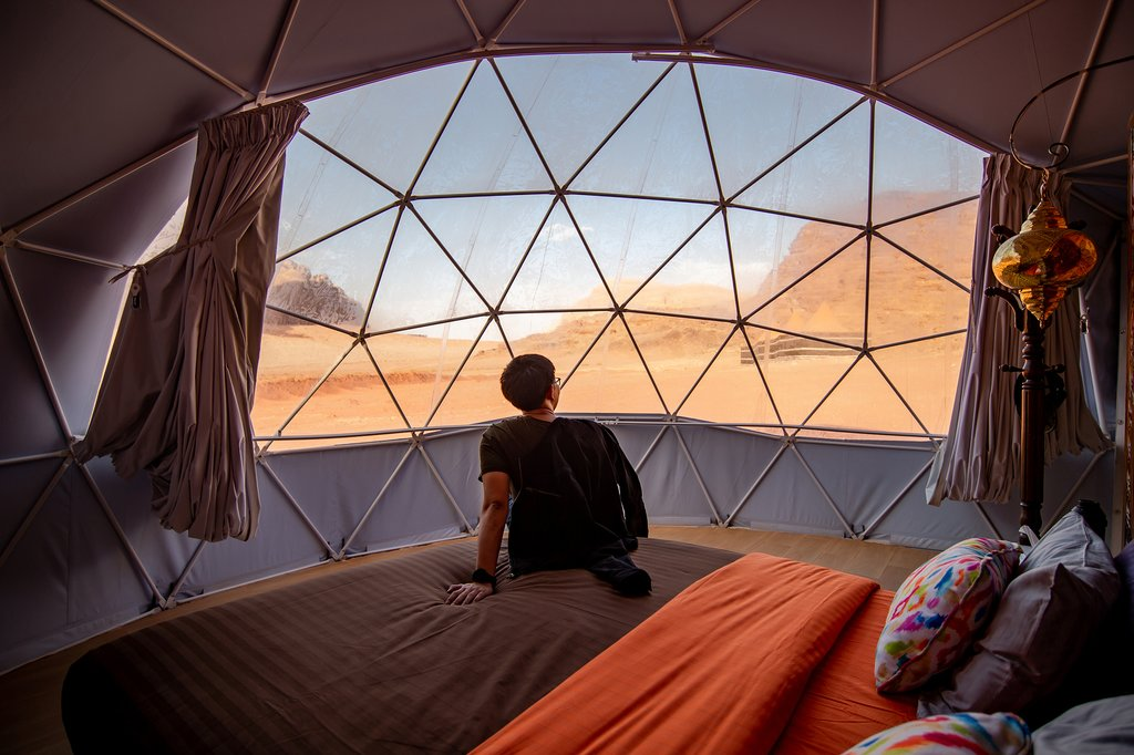 A view from inside a tent in Wadi Rum desert