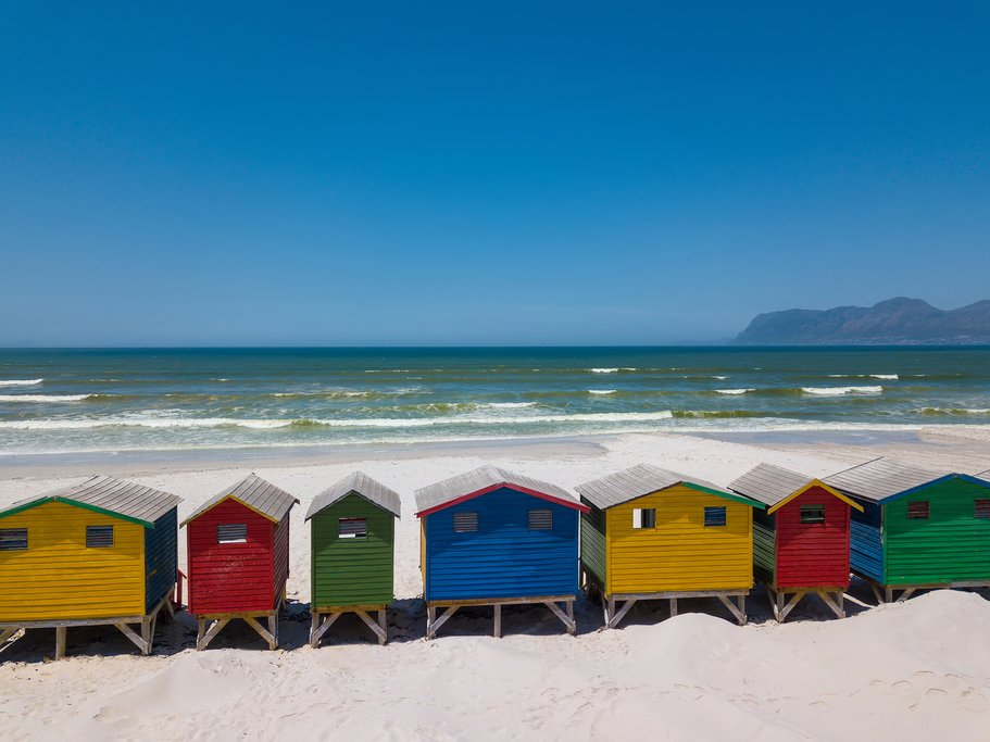 Beach huts along Muizenberg Beach