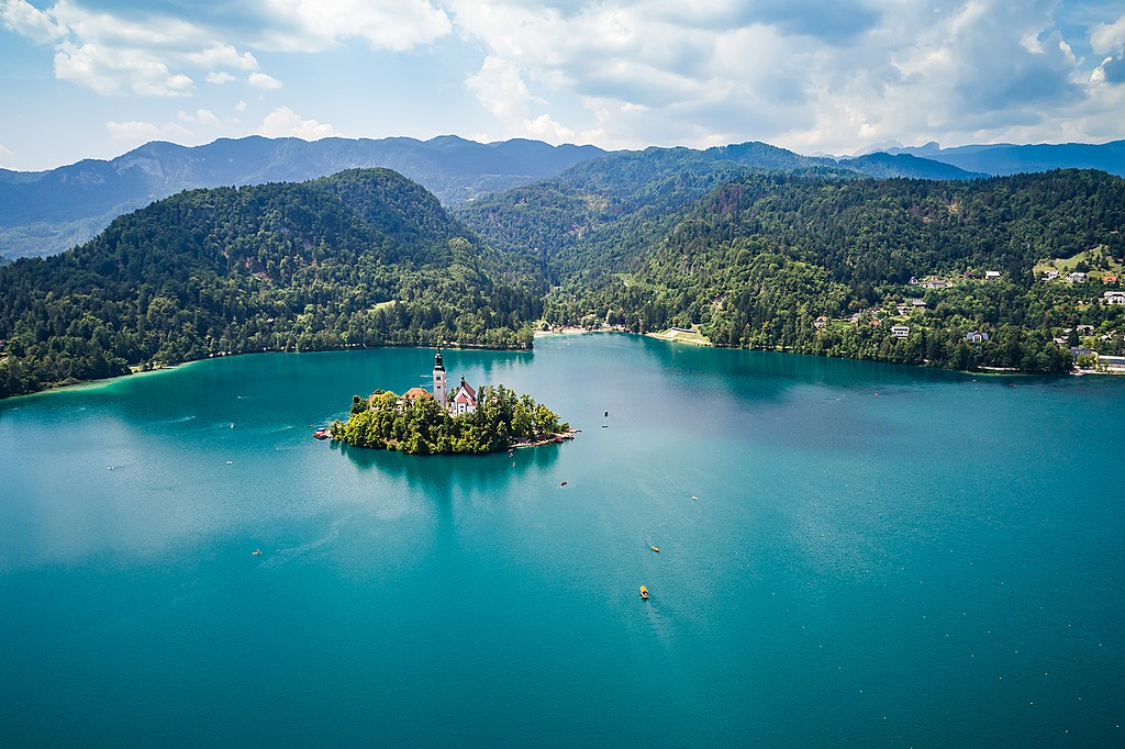 Boat to the island in Lake Bled's center