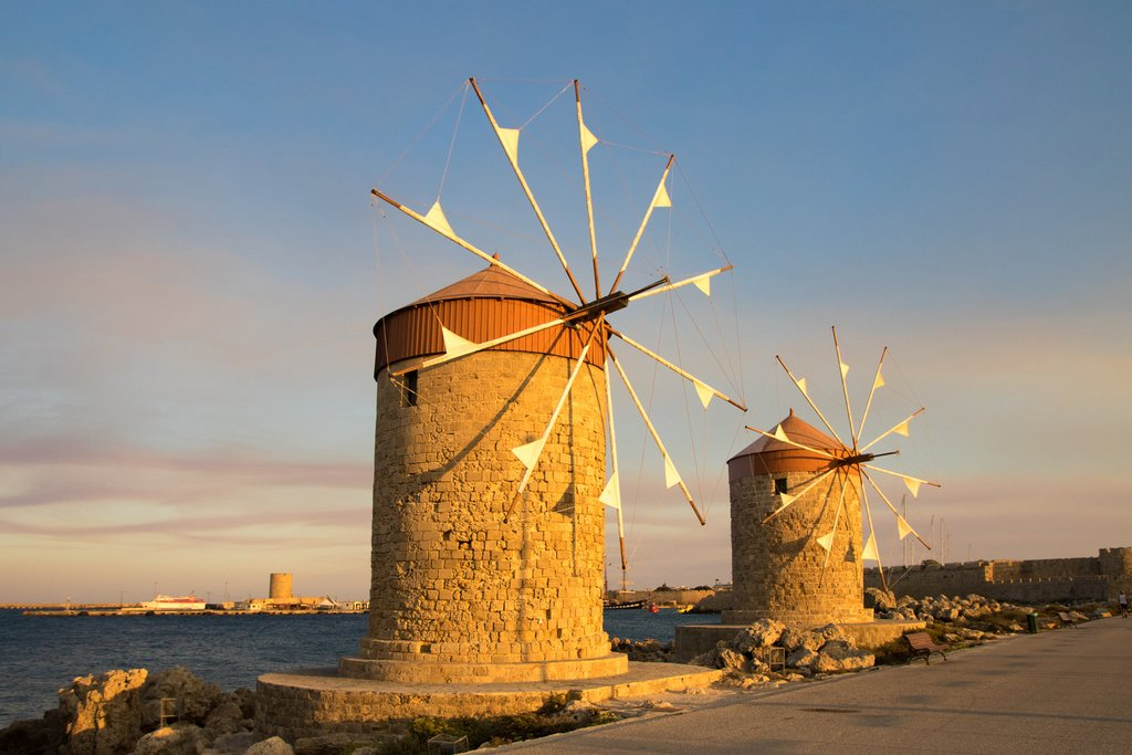 Traditional windmills in Rhodes