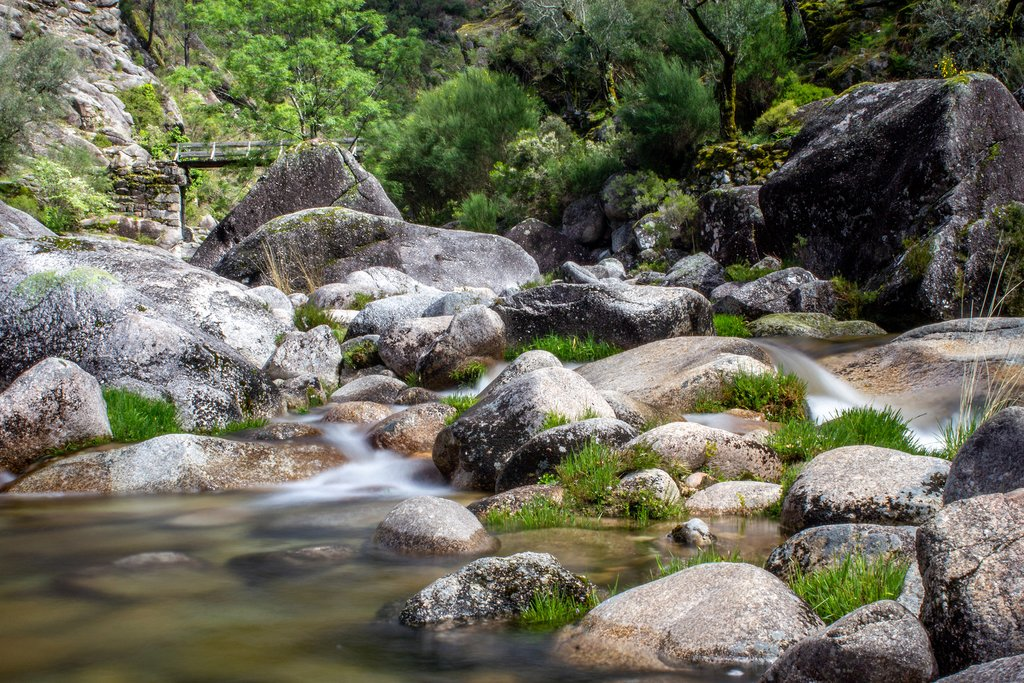 A tranquil rushing stream within Peneda- Gerês National Park,