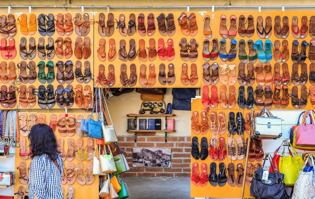 Leather sandals at San Lorenzo Market.