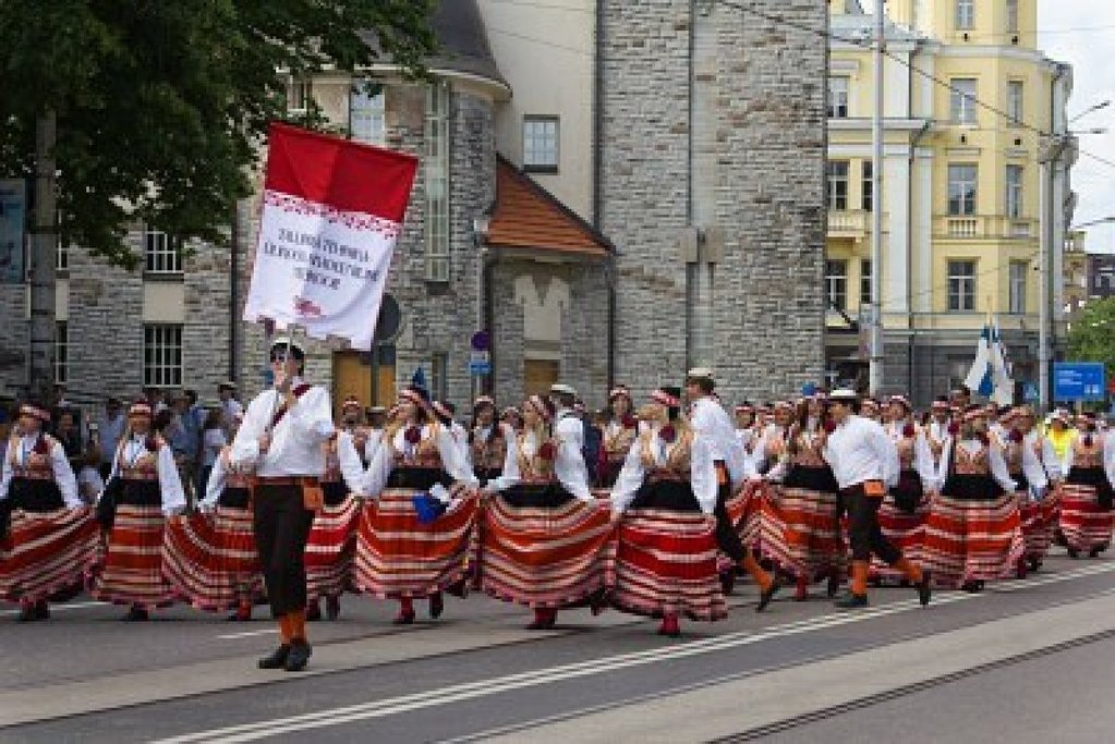Parade of the participants of the Song and Dance festival