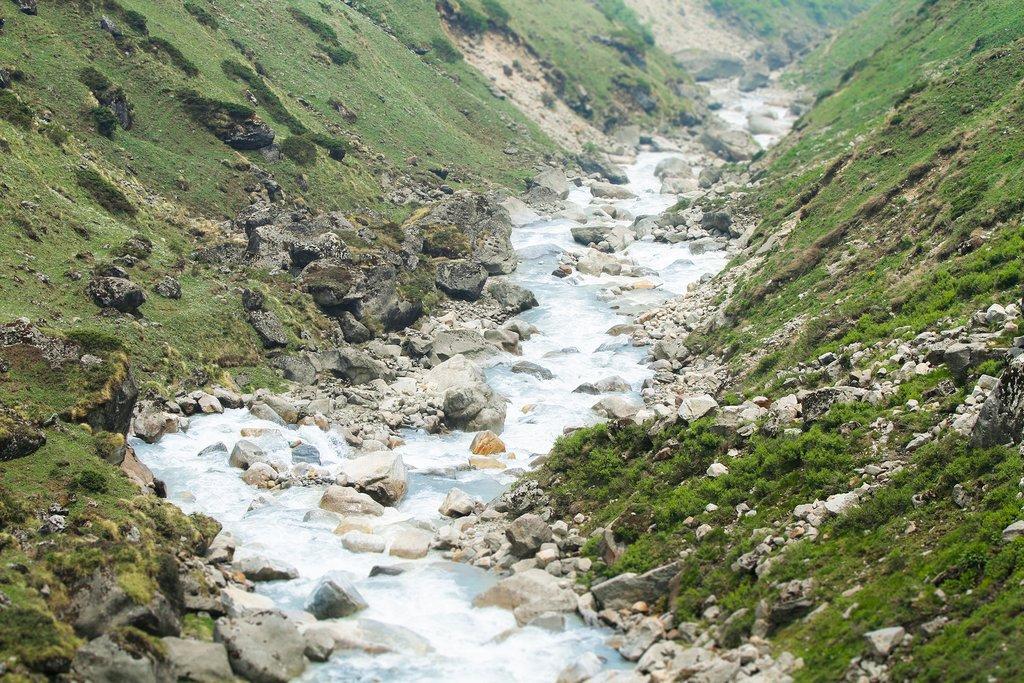 The Mandakini River flowing down from Kedarnath