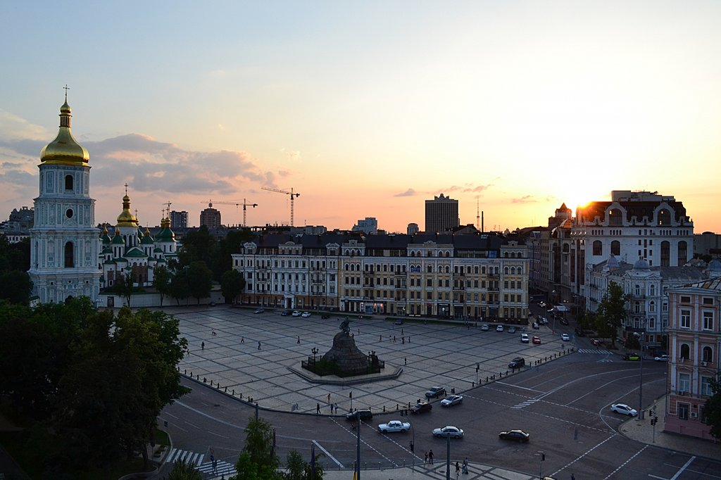 Sunset over Ukraine's capital