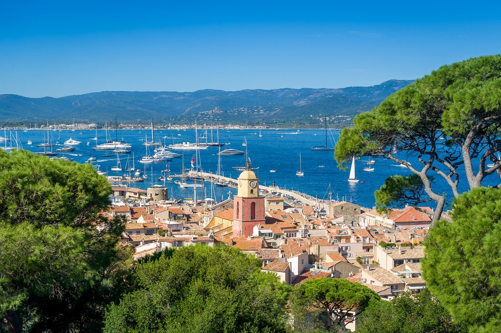 Looking down at the marina and old town, Saint-Tropez